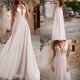 $enCountryForm.capitalKeyWord UK - Sexy illusion Plunging V Neck Boho Inspired A Line Wedding Dresses 2019 See Through Casual Beaded Tulle Chic Bridal Gowns