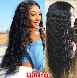 Wet Brown Australia - Human Hair Full Lace Wig Wavy Water Wave 100% Hand Tied African American Wig Natural Hairline wet and wavy hair style