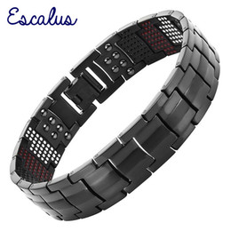 $enCountryForm.capitalKeyWord Australia - Escalus Men's Black Pure Titanium Magnetic Bracelet For Men 4in1 Magnets Negative Ions Germanium Health Bracelets Jewelry J190703