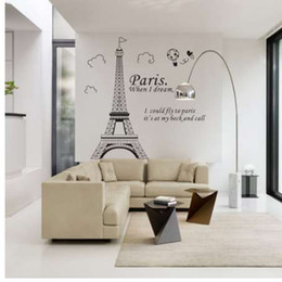 paris decor UK - Free shipping Romantic Paris Eiffel Tower Beautiful View of France DIY Wall Stickers WallpaperArt Decor Mural Room Decal