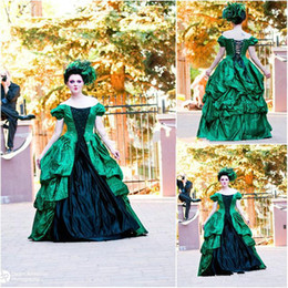 plus size wedding dresses taffeta Australia - Green And Black Gothic Wedding Dresses with Sleeves 2019 Vintage Plus Size Lace-up Corset Back Ball Gown Princess Church Wedding Gown