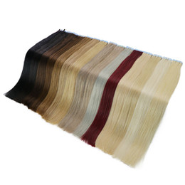 """Tape In Human Hair Extensions 16"""" 18"""" 20"""" 22"""" 24"""" Machine Made Remy Hair On Adhesives Tape PU Skin Weft Invisible 20pcs on Sale"""