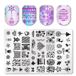 Discount nail art stencil template sticker - Square Nail Art Stamp Template Creative Christmas Floral Image Pattern Printing Plate for Manicure Stencil sticker nails