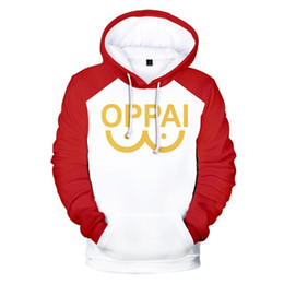 cosplay sweatshirts toptan satış-Japon Anime One Punch Man Cosplay Kostüm Saitama Oppai D Baskılı Boy Kadınlar erkekler Hoodies Sweatshirt Casual Kapüşonlular