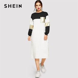 55a4b08306 ColorbloCk long sleeve dresses online shopping - SHEIN Pocket Patched  Metallic Panel Colorblock Women Dress Spring
