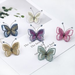 Butterfly lapel pins online shopping - 2019 New Embroidery Fabric Butterfly Brooch Lapel Pin Exquisite Dress Shaw Badges Collar Brooches for Women Accessories Jewelry