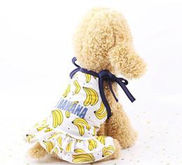 Wholesale banana t shirt online – design Pet Dog Clothing Fruit Printing Puppy Dress Skirt Pet Dog T Shirts Cat Dog Costume Banana Strawberry Pineapple Pattern forSchnauzer LQPYW923