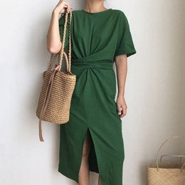 Summer Street Fashion Vintage Dresses Australia - LANMREM 2019 Summer New Solid Color Loose Round Neck Natural Waist Vintage Split The Fork Fashion Women Dress E4100 T19053101