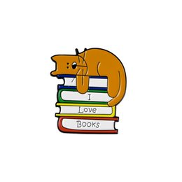 Wholesale fresh books for sale – custom I LOVE BOOKS Brooch Cute Cat Pins Bag Clothes Lapel Pin Fashion Fresh Enamel Badges Accessories