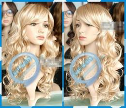 $enCountryForm.capitalKeyWord Australia - HOT sell Free Shipping Wig New Wig Mix Blonde Long Curly Hair Wig Oblique Bangs W@
