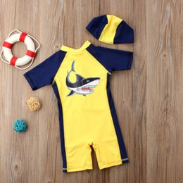 cartoon shark costume Canada - Cartoon Shark Kids Baby Boys Girls Summer Beach Swimwear Swimsuit Clothes with Hat Swimming Costume