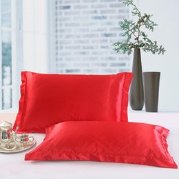 Plain Pink Black Bedding UK - LanLan 2Pcs Solid Color Simulate Silk Pillow Cover for Bed Pillow Case