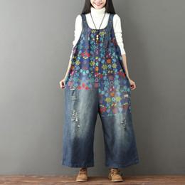 $enCountryForm.capitalKeyWord Australia - Johnature Women Denim Jumpsuits Print Floral Vintage 2019 New Plus Size Women Clothes Casual Quality Hole Wide Leg Jumpsuits MX190726