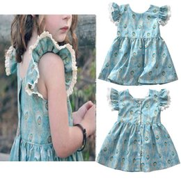 $enCountryForm.capitalKeyWord Canada - summer dress Children Tangled dresses costume party baby girls Ins girl Short-sleeved dress Baby Girl Peacock Printed Princess Skirt C23