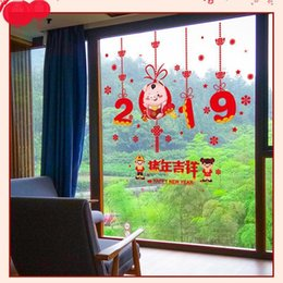 Festival Glasses Australia - 2019 New Year Window Wall Stickers Chinese Spring Festival Glass Pig Year Cartoon Cute Decoration Wall Decals Home Decor D19011702