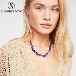 $enCountryForm.capitalKeyWord Australia - Women Natural Irregular Gravel Stone Charm Necklace 8 Color Handmade Braided Choker Necklace Fashion Jewelry Gift