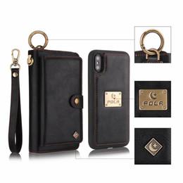 Venta al por mayor de POLA para iphone 6 6s 7 8 plus X Xs MAX XR Funda de lujo con cremallera de cuero de negocios Funda magnética billetera cubierta cubierta