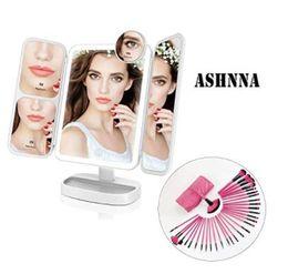 $enCountryForm.capitalKeyWord NZ - Vanity Mirror, Makeup Brush, Lighted Vanity Mirror Make Up Tri-Fold, 38Pcs Lights, Ultra-Thin 2x 5x 10x Magnifying, 180 Degree Free Rotation