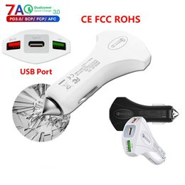 C Cars online shopping - Brand quality Mini USB ports Car Charger Quickcharge with Type C Safety Emergency Hammer QC3 Fast car Charger Adapter DHL ship