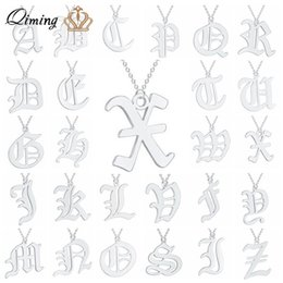 $enCountryForm.capitalKeyWord Australia - A - Z Initial Letter Women Men' Necklace Silver Stainless Steel Metal Fashion Jewelry Vintage Gold Chain Choker Pendant Necklace