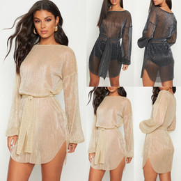sexy mesh net dress NZ - Sexy Sheer Net Mesh Glitter Tunic Beach Cover Up Long Sleeve Cover-ups Long Beach Dress Beachwear Beachwear Female Women Robe