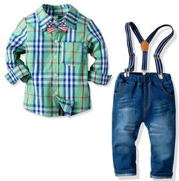 China New boys cotton plaid long-sleeved shirt stretch denim trousers back lead four-piece suit gentleman dress suppliers