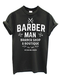 "China T SHIRT UOMO ""Barber Man"" White Logo - maglietta in cotone - GRAFITE RETRO VINTAGE Classic t-shirt supplier barber logos suppliers"