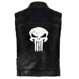 leather hip hop coat Australia - Skull Hip Hop PU Vest Men Leather Outerwear Vests Sleeveless Jackets Punk Rock Waistcoat Streetwear Hiphop Skeleton Gothic Coats