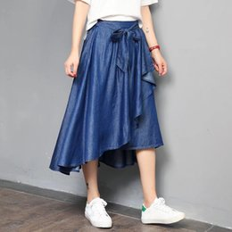 add159ae3 Plus Size A-line Long Denim Skirts Women Loose Elastic High Waist Pockets  Blue Solid Pleated Jean Skirt Female