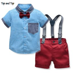 $enCountryForm.capitalKeyWord Australia - Top And Top New Arrival Fashion Summer Children Boys Clothes Sets Boy Gentleman 2pcs Clothes Suit For Wedding And Party MX190803