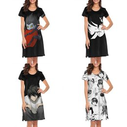 hollow out design dress red Australia - Womens design printing Cartoon Death Note white nighty gown shirt dress crazy band slim fit loungewear fashion neon movie urban for L