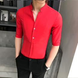 stand up collar shirts men Australia - Stand-up Collar Chinese Shirt Men's Slim Korean Clothes Men Half Sleeve 2020 Summer Designer Club Shirt Men's Casual Streetwear