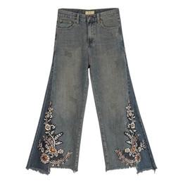 $enCountryForm.capitalKeyWord Australia - Fall Spring Vintage Womens High Waisted Embroidery Sequins Flower Irregular Denim Pants , Women Beads Wide Leg Jeans Trousers