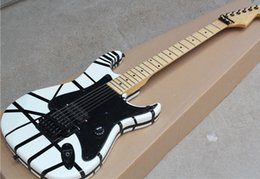 White Rose Pattern Australia - Floyd Rose Electric Guitar with Black and white stripe pattern,Maple Fingerboard,Black Pickguard,offering customized services