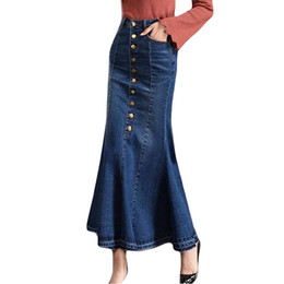 Chinese  Women Summer sexy skirts party night club Fashion Long High Waist Button Pocket Front Fishtail Denim Maxi Skirts #190125 manufacturers