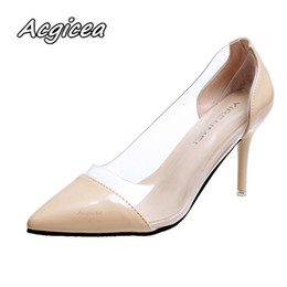 171b9c583 Women Pumps 2019 Transparent High Heels Sexy Pointed Toe Slip-on Wedding  Party Shoes For Lady Leopard F125