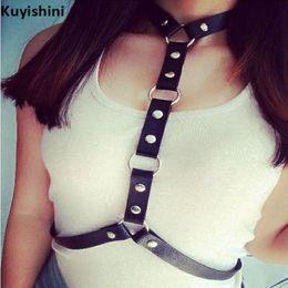 $enCountryForm.capitalKeyWord Australia - New Body Leather Harness Bondage Statement Necklaces Women Beach Collar Goth Choker Shoulder Necklace Party Jewelry