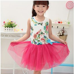 Cheap Kids Tutus Australia - Fashion Summer Baby Girl Dress Sleeveless Casual Tutu Flower Cheap Clothes China Infantil Kids good quality Children Clothing