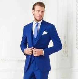 size 58 suit for men Australia - Plus Size Blue Mens Suits Slim Fit Bridegroom Tuxedos For Men Three Pieces Groomsmen Suit Formal Business Jackets With Vest