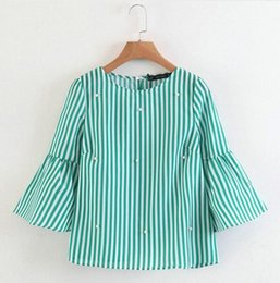 trumpet sleeve blouse NZ - Women's elegant pearl beaded striped shirt trumpet sleeve O-neck blouse ladies summer casual top