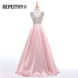 $enCountryForm.capitalKeyWord Australia - BEPEITHY Real Photo Beadings Bodice Long Evening Dress Backless Bright Satin Custom Made Cheap Prom Gowns