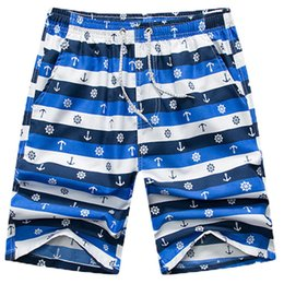 $enCountryForm.capitalKeyWord Australia - MISSKY Men Short Blue And White Color Large Size Quick Dry Printing Fifth Pants Shorts for Summer Beach Wear Male Clothes