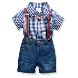 Short Shirt jeanS kidS boyS online shopping - Boys plaid lapel short sleeve shirt american flag Bows tie stripe suspender jeans shorts sets summer kids gentleman outfits F3988