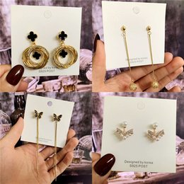 $enCountryForm.capitalKeyWord Australia - Kendra Scott Korean tassel silver needle earrings with diamond net red pearl earrings small fresh S925 silver needle retro earrings jewelry