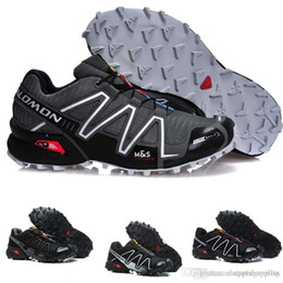 Мужские кроссовки Salomon Speed Cross 3 CS III Синий Черный Серый Дышащие кроссовые кроссовки
