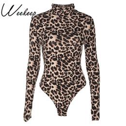$enCountryForm.capitalKeyWord NZ - Weekeep Sexy Leopard Bodysuit Women Bodycon Turtleneck Bodysuits Long Sleeve Short Jumpsuits Romper One Piece Femme Playsuit Q190516