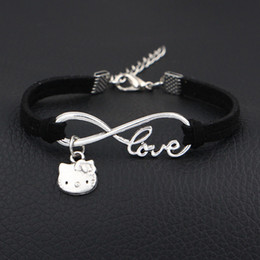 $enCountryForm.capitalKeyWord NZ - 2019 New Arrival Cute Kitty Cat Charms Bangles Antique Silver Infinity Love Black Leather Suede Hand Bracelets For Women Men Fashion Jewelry