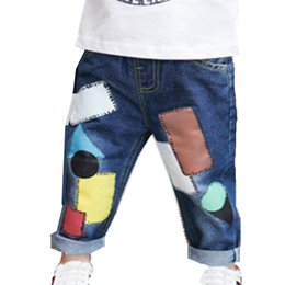 boys printed jeans NZ - 2018 New Dsign Boys Jeans Fashion Children's Printed Colorful Splicing Trousers S Kids Casual Denim Pant 18m06 J190522