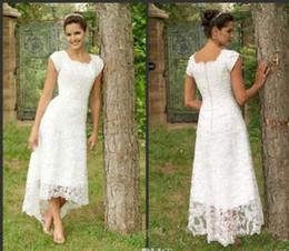 $enCountryForm.capitalKeyWord Canada - 2019 White Tea Length High Low Lace Wedding Dresses U Neck Cap Sleeves Modest Wedding Gowns Elegant Pleats Beach Bridal Gowns Custom Made