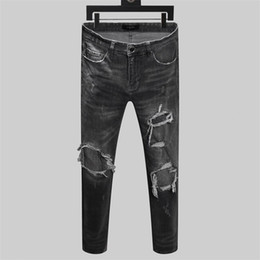 Wholesale design print skinny jeans for sale – denim NEW men High end design Jeans Pants Print Army luxury Mens Slim Straight Hip Hop Fit Washed Motocycle Biker Skinny pants